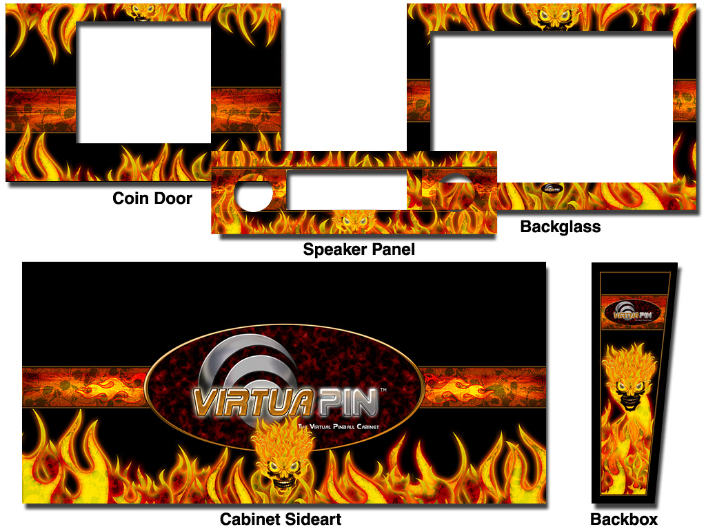 Cabinet Decals - VirtuaPin™ Flaming Skull - Click Image to Close
