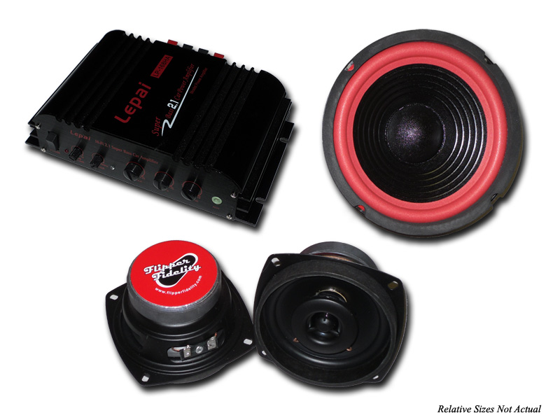 "Complete 4"" Flipper Fidelity Sound System w/Amp"